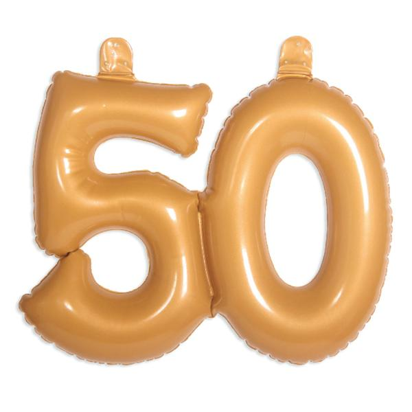 Número 50 Inflable Oro