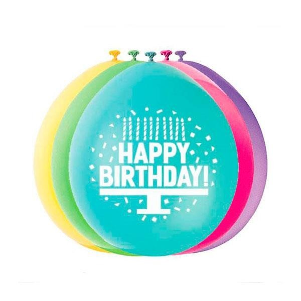 Globos Happy Birthday Colores (Pack de 10)