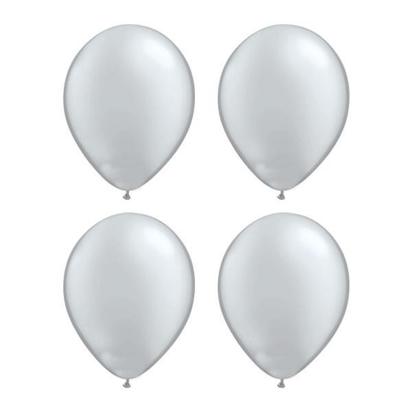 Globos Plata Metalizado Qualatex (Pack de 25)