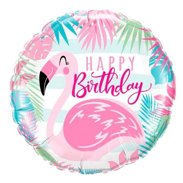 Globo Foil Happy Birthday Flamingo
