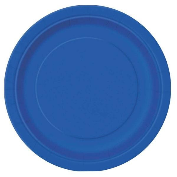 Platos Azul Royal Papel Grande (Pack de 8)