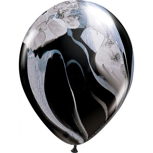 Globos Agate Blanco y Negro Qualatex (Pack de 25)