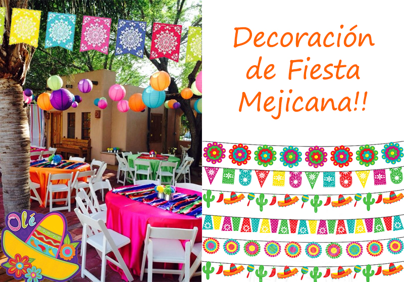 Decoracion fiesta mexicana y elementos divertidos for Decoracion kermes mexicana