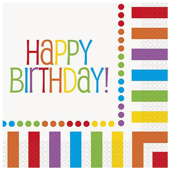 Servilletas Happy Birthday Multicolor (Pack de 16)