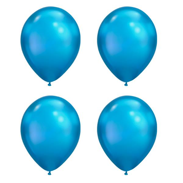 Globos Azul Chome Qualatex (Pack de 25)