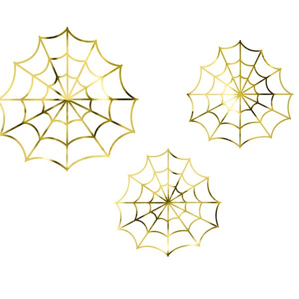 Decoración Telaraña Oro (Pack de 3)