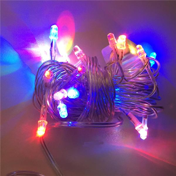 Cadena 20 Luces LED Colores (Cable Transparente)