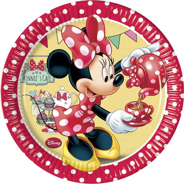 Pack 8 Platos Minnie Rojo