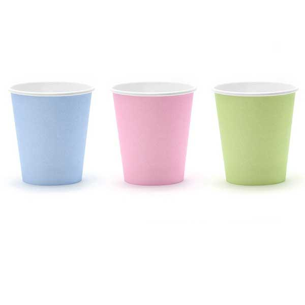Vasos Papel Colores Pastel (Pack de 6)