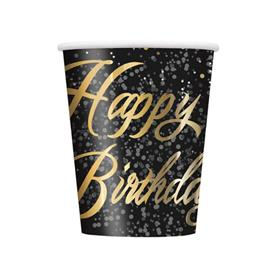 Vasos Golden Happy Birthday (Pack de 8)