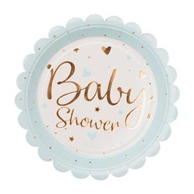 Platos Baby Shower Azul y Oro (Pack de 8)