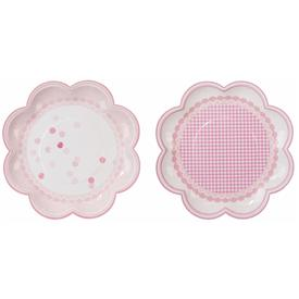 Pack 8 Platos Flor Rosa Chic